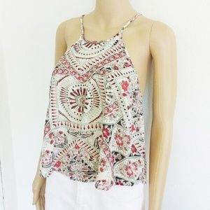 L New BILLABONG cami crop top floral tank halter